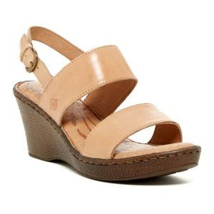 Born Abagail Tan Leather Slingback Wedge Sandals